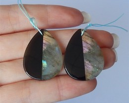 37.5ct Fashion Teardrop Obsidian And Labradorite Intarsia Earring Pair(1804