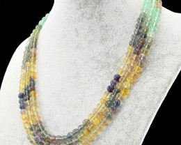 Genuine 460.00 Cts 3 Strand Multicolor Fluorite Beads Necklace