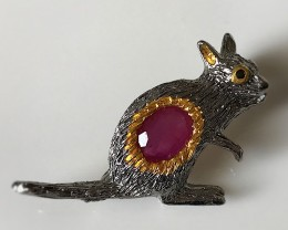 Fabulous Ruby Spinel Wallaby Brooch Sterling Silver