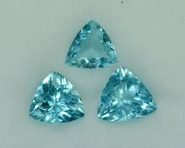 6.753 Cts Beautiful 3Pcs Trillion Blue Aquamarine