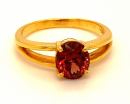 Malaya Garnet 2.29ct Solid 18K Yellow Gold Ring