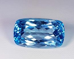 24.47 Ct Top Luster Rectangular Cushion Cut Natural Blue Topaz