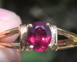 Mozambique Ruby .85ct 18ct Solid Yellow Gold Ring,July Birthstone,15th and