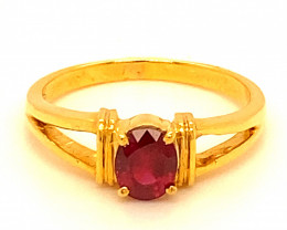 Mozambique Ruby .85ct Solid 18K Yellow Gold Ring,July Birthstone,15th and