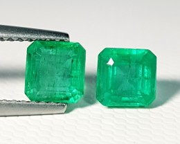 1.98 ct Pair of Top Luster Green Octagon Cut Natural Emerald
