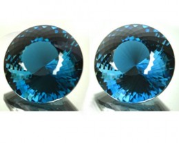~PAIR~ 50.03 Cts Natural London Blue Topaz Round (CUSTOM CUT) Brazil