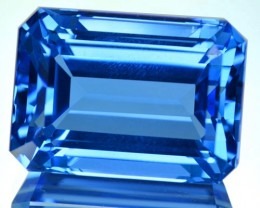 ~JEWELRY GRADE~ 24.60 Cts Natural Swiss Blue Topaz Octagon Cut Brazil
