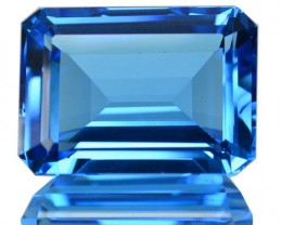 ~JEWELRY GRADE~ 19.15 Cts Natural Swiss Blue Topaz Octagon Cut Brazil