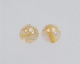 7.5ct Natural Beautiful Gold Rutilated Quartz Cabochon Pair(18041304)