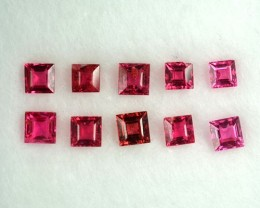 VIVID RED 2.01 Cts Natural Burmese Spinel Square Cut 2.01 Cts - 10 Pcs