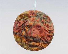 137ct New Design Circular Multi-Color Picasso jasper Craved Pendant(1804141