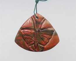 74.5ct Hot Sale Multi-Color Picasso jasper Craved Butterfly Pendant(1804141