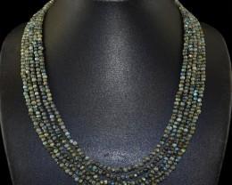 Genuine 220.00 Cts 5 Line Labradorite Beads Necklace