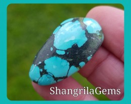 34mm TIBETAN TURQUOISE oval free form cabochon 34ct