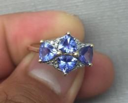 (B1) $2175 Nat 2.0tcw 4 Trillion Cut Tanzanite & Diamond Ring 10K YG