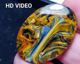 31mm Pietersite cabochon 31 by 22 by 3.5mm and 18ct