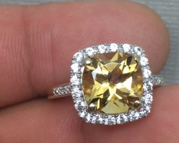 (B1) Cert. $1300 Nat 3.81cts. Ylw Topaz Wht Sapphire Diamond Ring 10K YG