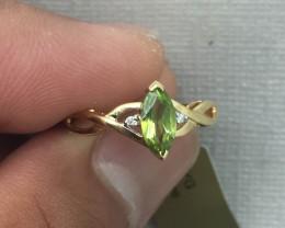 (B1) Cert. $975 Nat 0.68cts Peridot & Diamond Ring 10K YG