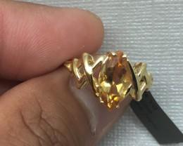 (B1) Cert. $1150 Nat 2.77cts. Yellow Topaz  Ring 14K YG 2.31gr