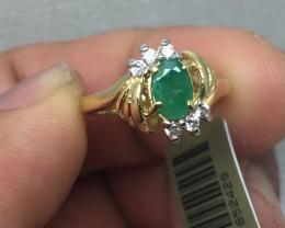 (B1) Brilliant Cert. $1500 Nat 0.73cts Emerald & Diamond Ring 14K YG