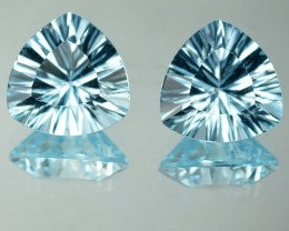 6.96 Cts Natural Blue Topaz 10mm Trillion Millenium Cut 2 Pcs Brazil