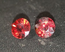 2.15 CT Unheated Vivid Orangy-Red Precision Cut Garnet Matched Pair
