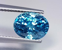 4.49 ct  Exclusive Rare Oval Cut Natural Blue Zircon