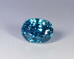 4.61 ct AAA Top Quality Oval Cut Natural Blue Zircon