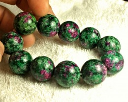 1$NR - Natural China Zoisite / Ruby Bracelet - Gorgeous