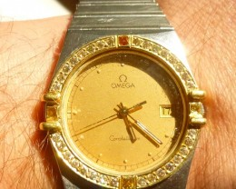 18kt /ss Mens wrist Watch Omega with 1.50ct Diamonds.