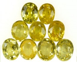 4.62 Cts Natural Canary Yellow Sapphire Oval Cut 9 Pcs Parcel