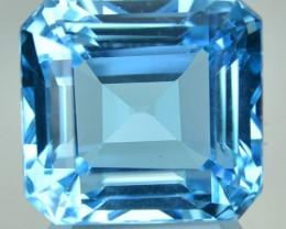 25.33 Cts Natural Blue Topaz Octagon Cut Brazil Gem