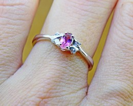 N/R Pink Tourmaline Natural Size 6  925 Sterling Silver Ring (SSR0358)