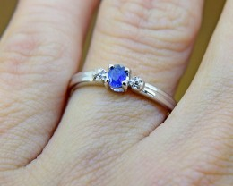 N/R Blue Sapphire Natural Size 5,  925 Sterling Silver Ring (SSR0356)