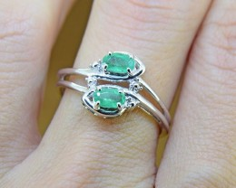 N/R Emerald Natural Size 7,  925 Sterling Silver Ring (SSR0009)