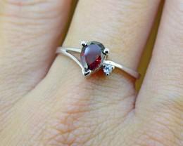 N/R Rhodolite Garnet Natural  Size 6.75, 925 Sterling Silver Ring (SSR0117)