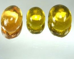 9.91 Cts Natural Canary Yellow Tourmaline Cabochon 3 Pcs Mozambique