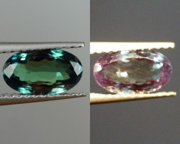 1.22 ct RARE! NATURAL COLOR CHANGE ALEXANDRITE OVAL medium bluish green