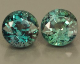 0.95 CT BEAUTIFUL BLUISH GREEN ROUND SHAPE NATURAL BRAZIL ALEXANDRITE PAIR