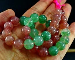 427 CT Natural Chlorine  &Cherry Quartz  Carved Beads Stone Special Sha