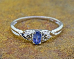 Blue Sapphire Natural Size 6US, 925 Sterling Silver Ring (SSR0360)