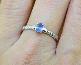 Blue Sapphire Natural Size 7 US, 925 Sterling Silver Ring (SSR0361)