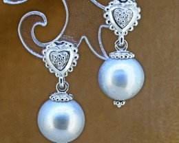Grey Pearl Dangler 925 Sterling Silver Earrings (SSE0367)