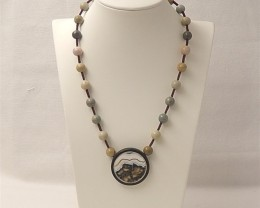 197ct 47mmNew Design Obsidian And Ocean Jasper Intarsia Necklace 36x5x5mm.8