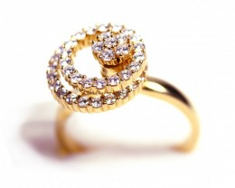 Rotating Ring Gr 5.20 18 k Gold with Diamonds . FB90