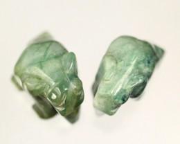 106.0Ct Natural Grade A 2Pcs Elephant Green Jadeite Jade