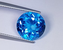 "6.95 ct ""IGI Certified"" Lovely Super Swiss Round Cut Natural Blue"