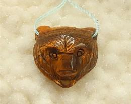 56ct Hot Sale Tiger Eye Craved Bear Pendant(18042101)
