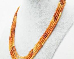 Genuine 212 Cts Hessonite Garnet 4 Strand Necklace