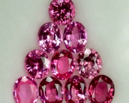 3.94 Cts Natural Pinkish Red Burmese Spinel Oval 10 Pcs Parcel